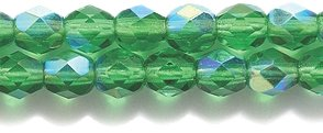 Glass Ornaments Czech - Preciosa Czech Fire 4 mm Faceted Round Polished Glass Bead, Dark Christmas Green Aurora Borealis Finish, 200-Pack