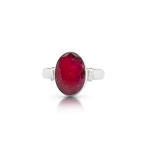 Koral Jewelry Created Ruby Oval Stone Ring 925 Sterling Silver Vintage Boho Chic US Size 7 8 9 ()
