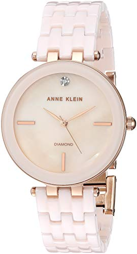 (Anne Klein Women's AK/3310LPRG Diamond-Accented Rose Gold-Tone and Light Pink Ceramic Bracelet Watch)