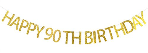 Happy 90th Birthday Banner Gold Glitter Cheers to 90 Years - 90th Birthday Party Decorations Supplies]()