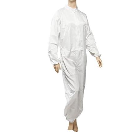 eDealMax Mujer Hombres camiseta manga larga blanca de rayas anti estática general del mono