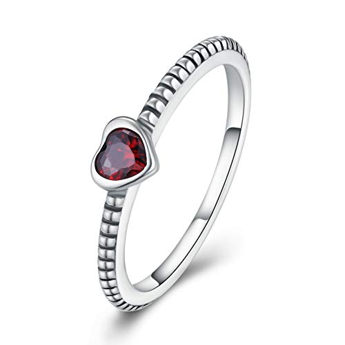 WINNICACA Red Cubic Zirconia Rings s925 Sterling Silver Heart Rings for Women Girls Gifts,Size 7#