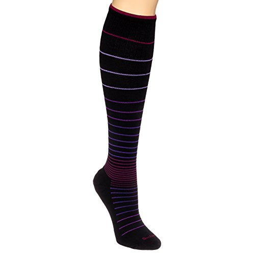 Sockwell Womens Stripe Circulator Compression Socks (Black/Berry, M/L) - Edge Soccer Socks