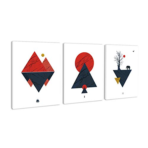BIL-YOPIN Canvas Wall Art Abstract Geometry Painting 12x16inchx3 Pieces Framed Canvas Pictures Prints Contemporary Watercolor Artwork Ready to Hang for Home Decoration Office Wall Décor,3 Panels (Piece Art Abstract)