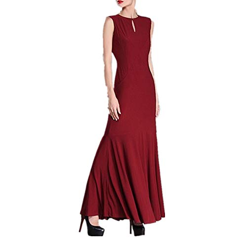 Isbxn Femme col Rond Dos Ouvert Mince Robe Longue Longue Jupe Pure (Color : Coffee Color, Size : L) Red