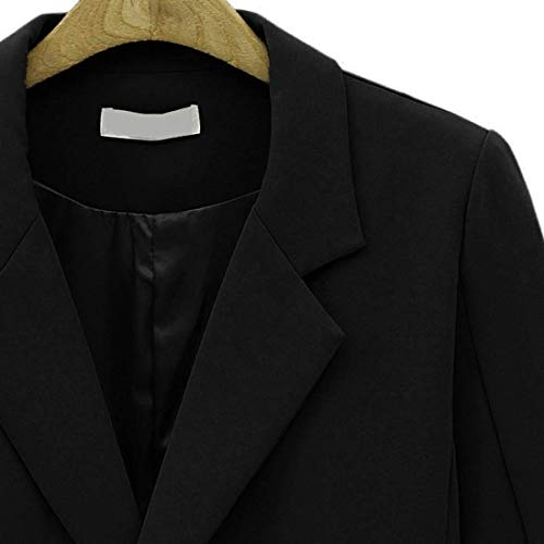 Marca Tasche Breasted Giacche Donna Blazer Cappotto Colore Vintage Mode Moda Tailleur Slim Eleganti Manica Bavero Schwarz Giacca Fit Con Business Puro Autunno Primaverile Lunga Da Double Di x1fqvf