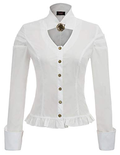 Victorian Stand - Women Vintage Steampunk Victorian Stand Collar Button Placket Blouse White