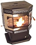 BRECKWELL P2700 WOOD PELLET STOVE, MATTE BLACK Door w. GOLD Options, Auto Ignite