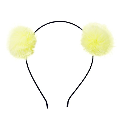 BUYITNOW Fluffy Rabbit Fur Ball Hairband Cosplay Panda Ears Headband]()