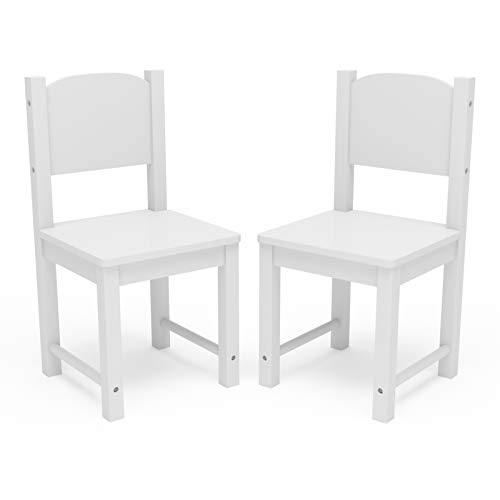 (Timy Toddler Wooden Chair Pair, White Kids Furniture for Eating, Reading, Playing 2 Pack)