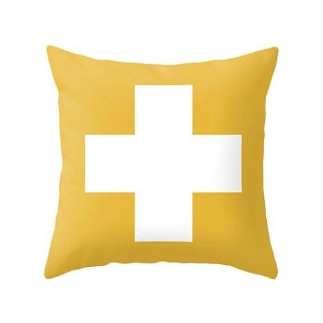 MUSTYDF - Funda de cojín con diseño de Cruz Suiza, Color ...