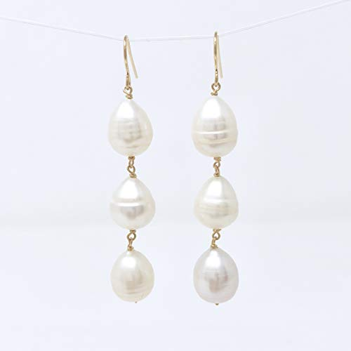 Three Teardrop Cultured Pearl Gold Fill Earring also in Sterling Silver and Rose Gold -