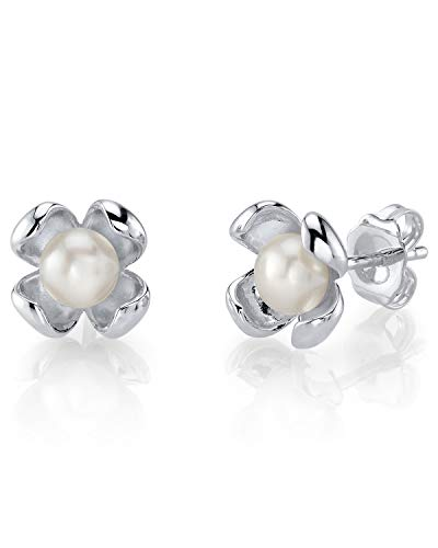 THE PEARL SOURCE 4-5mm Button-Shape White Freshwater Cultured Pearl Paris Earrings for Women ()