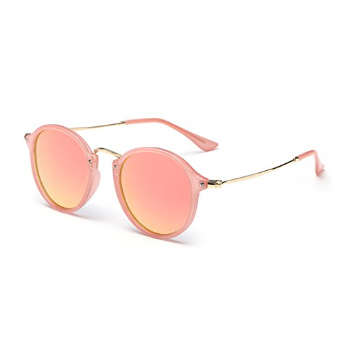 LOMEDO Fashion Round Classic Sunglasses for Womens Flash Mirrored Lenses - For Sunglasses Sale Weird
