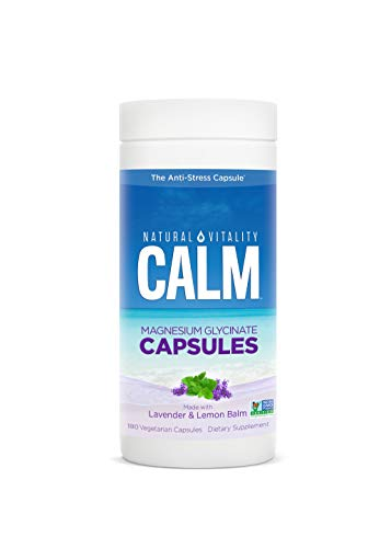 Natural Vitality Calm Capsules, Magnesium Glycinate Supplement with Lavender & Lemon Balm - 180 Count Vegan Capsules