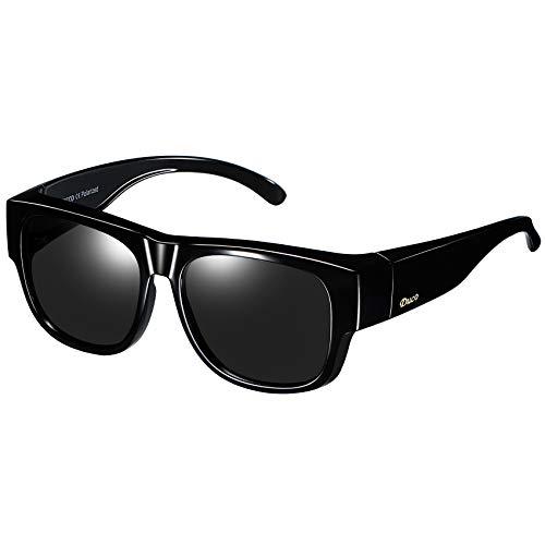 (Duco Unisex Wear Over Prescription Glasses Rx Glasses Polarized Sunglasses 8958 Black/Gray)