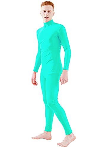- Ensnovo Adult Lycra Spandex Turtleneck Long Sleeve One Piece Unitard Bodysuit Dancewear Mint Blue, S