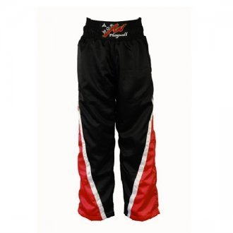Playwell Full Contact 100/% Satinado Kick Boxing Champion Pantalones Negro//Rojo