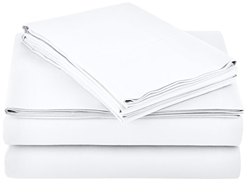 AmazonBasics Microfiber Sheet Set - Queen, Bright White, 4-Pack