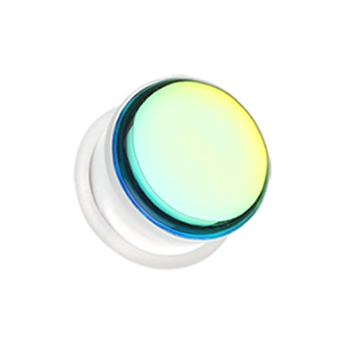 Chroma Flair Iridescence Single Flared Ear Gauge Freedom Fashion Plug (Sold by Pair) (Iridescence Single)
