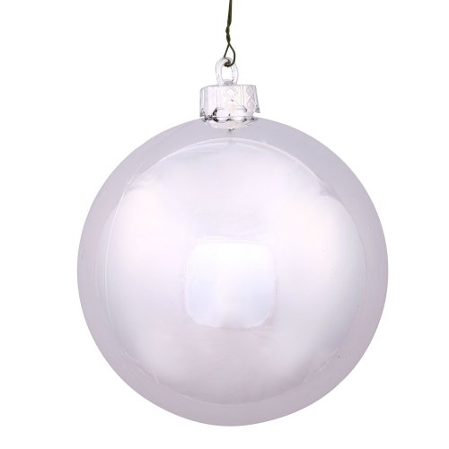 Vickerman Drilled UV Shiny Ball Ornaments, 2.75-Inch, Silver, ()