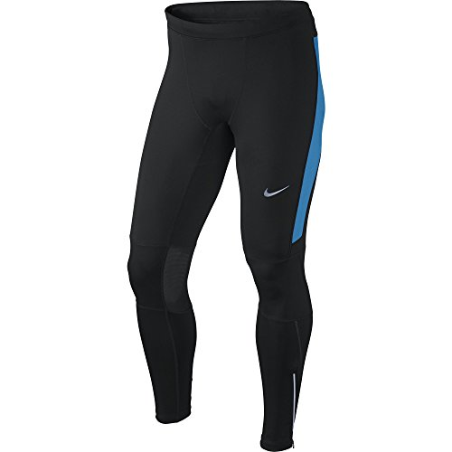 Nike DF ESSENTIAL TIGHT-Herren Tights Laufhose M Negro / Azul / Plateado (Black/Lt Photo Blue/Reflective Silv)