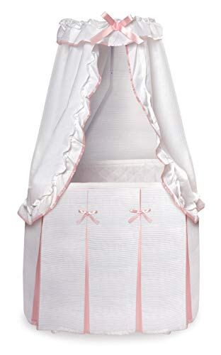 Majesty Rocking Baby Bassinet with Bedding, Pad, and Storage
