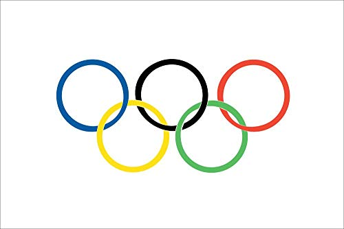 Shatchi Olympic Rings 5'x3' Flag Winter Summer Olympic National Supporters