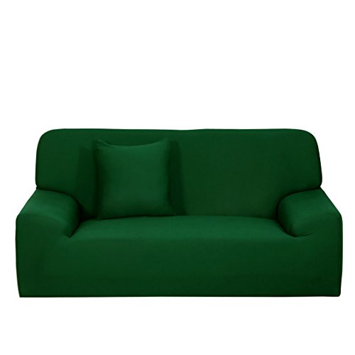 One Cushion - uxcell Stretch Sofa Cover Loveseat Couch Slipcover, Machine Washable, Stylish Furniture Protector with One Cushion Case (3 Seater, Dark Green)