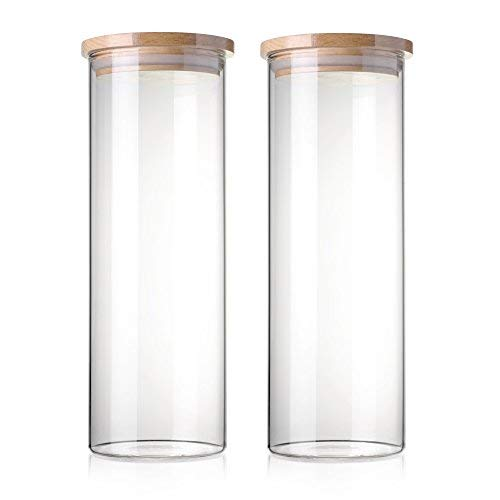STACK UP Transparent Food Storage Canister - Safe Clear Borosilicate Glass Jar with Wooden Lid - Perfect Container for Kitchen Organization - Keeps Food Dry and Fresh (2 x 1600 ml (54.1 fl oz)) - Canister Storage Glass