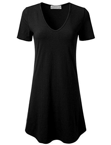 FLORIA Womens V-Neck Short Sleeve Lightweight Cotton Sleepwear Dress Made in USA (S-3XL) Black M