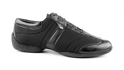 PortDance Herren Sneakers/Dance Sneakers PD Pietro Premium - Lycra/Leder Schwarz - Sneaker Sohle