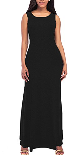 Solid Color Women Dresses - onlypuff Women's Maxi Dress Formal Solid Color Sleeveless Summer Sundress Casual Crew Neck Black XXLarge