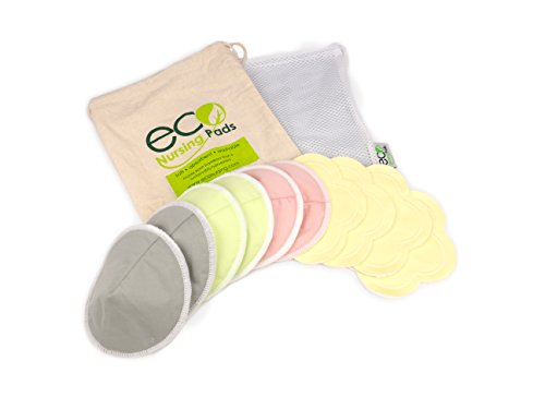 Contoured Washable Reusable Bamboo Nursing Pads | Organic Bamboo Breastfeeding Pads, Ultra-Soft Velvet Flower Pads | 10 Pack with 2 Bonus Pouches & Free E-Book | Perfect Baby Shower Gift ()