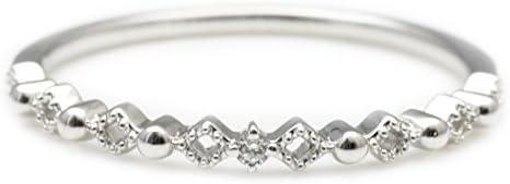 ダイヤモンド リング シルバー Silver925 指輪 6号 ピンキーリング ミル打ち 重ね付け 天然 ダイヤ 日本製