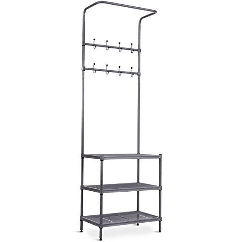 Metal Entryway Coat Hat Shoes Rack 3 Tier Storage Shelf 16 Hooks Garment Rack by totoshop