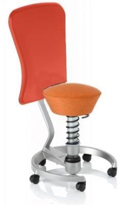 Aeris Swopper Classic - Bezug: Microfaser / Terracotta | Polsterung: Tempur | Fußring: Titan | Spezial-Rollen für Teppichböden | mit Lehne und rotem Microfaser-Lehnenbezug | Körpergewicht: SMALL