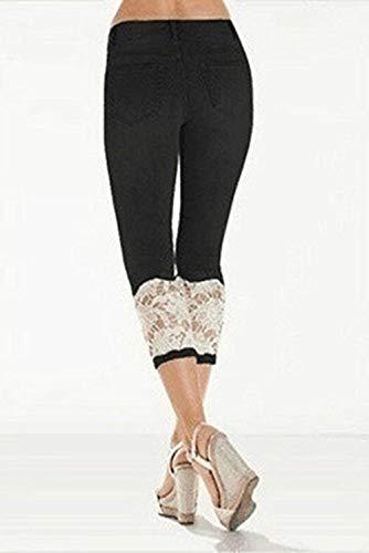 Casuales Botón 8 Mujeres Damas Cintura Jeans 7 Sólido Color Fit Leggings Schwarz Empalme Encaje Delanteros Bolsillos Alta Pantalones Slim HwAZqdxZP