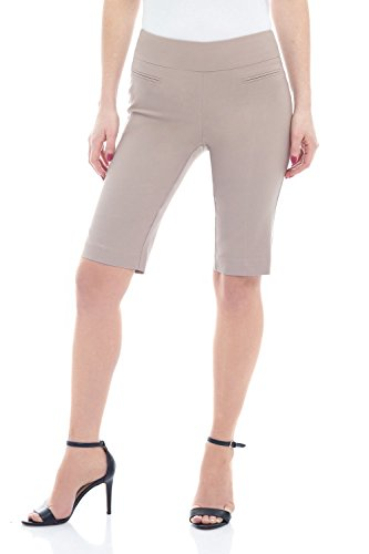 - Rekucci Women's Ease in to Comfort Fit Pull-On Modern City Shorts (8,Khaki)