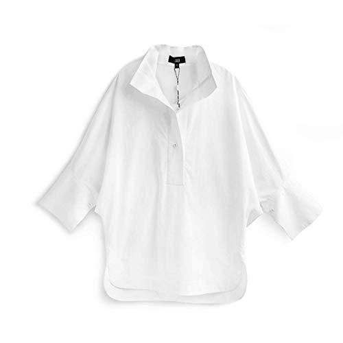 Yahuyaka L White Ol De color Manga Estilo Corta Camisa Suelta Cuello Blanco Mujer Para Size White rfrqSw