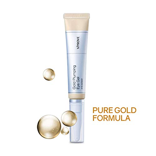 Hydrating Gold Eye Gel with Hyaluronic Acid - Fast Absorbing Cream to Reduce Dark Circles,Wrinkles, and Bags Around Eyes, 25 ml