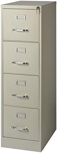 Scranton and Co 22 Deep 4 Drawer Letter File Cabinet in Putty, Fully Assembled