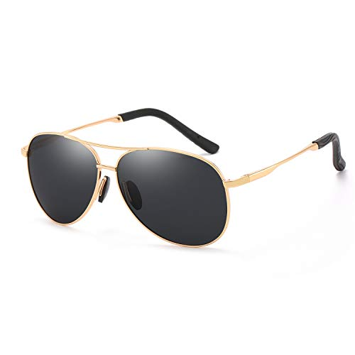 Polarized Classic Aviator Sunglasses for Men and Women UV Protection Shades Mirrored Lens Metal Frame with Spring Hinges (Black Gold Aviators Sunglasses)
