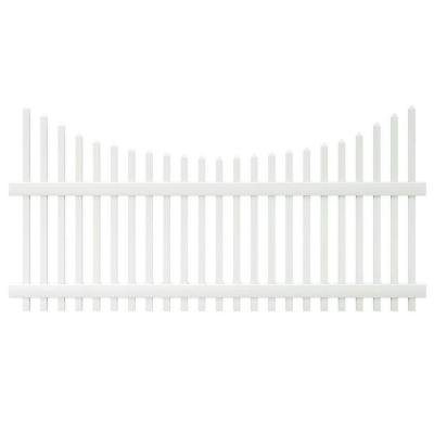 4 Ft. X 8 Ft. Scalloped Top Spaced White Picket Vinyl Fence Panel - Unassembled