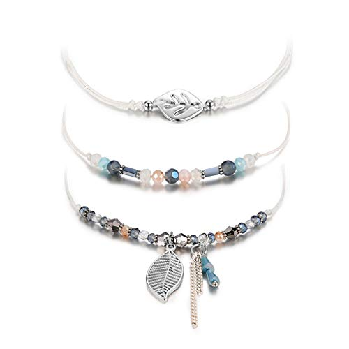 VOWUA Bracelet Simple Temperament Crystal Multicolor Multi-Layer Creative Tassel Adjustable Bracelet ()