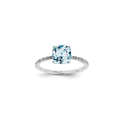 ICE CARATS 14k White Gold Diamond Blue Topaz Square Band Ring Size 7.00 Stone Gemstone Fine Jewelry Ideal Mothers Day Gifts For Mom Women Gift Set From Heart (Designer Gold Diamond White Ring)