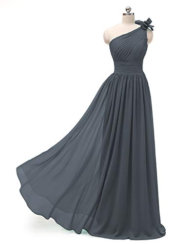 Dress Gray One Shoulder Bridesmaid Chiffon Pleated Long A Dresses line Formal Evening ZBFqPZrv