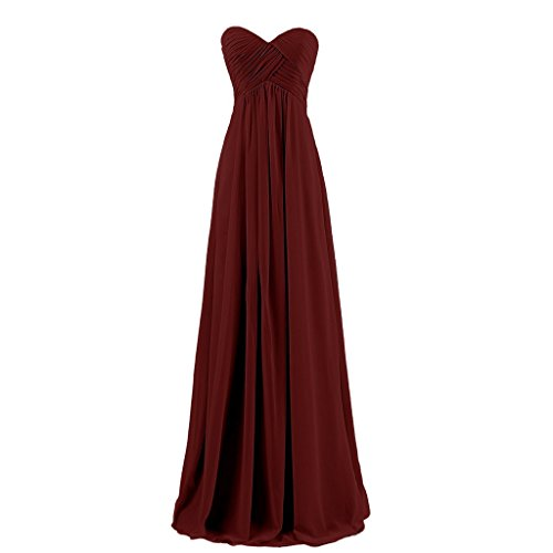 Lemai Sweetheart Pleats Long A Line Corset Formal Women Prom Bridesmaid Dresses Burgundy US22W