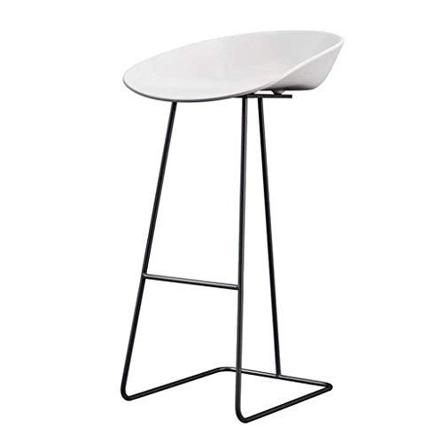 PLLP Sillas de comedor, taburetes, taburete de metal negro para el hogar Silla de comedor con asiento de plastico Pp Desayuno para la oficina de la cocina,Blanco,75cm