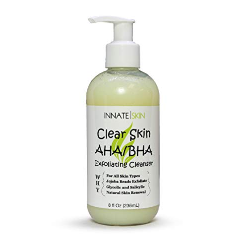 Clear Skin AHA/BHA Exfoliating Cleanser (8 oz) - Gentle Acne Face Wash with Glycolic Acid and Jojoba Beads - Safe for All Skin Types